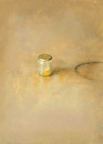 'Small jam jar'. Oil on board. 14 x 26 inches.