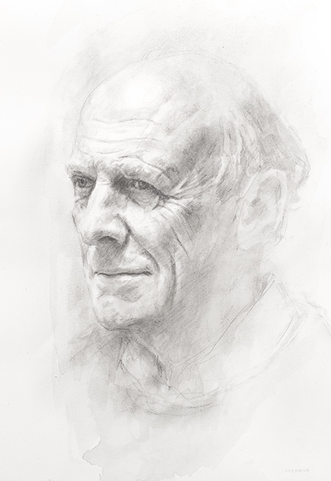 Professor Peter Carolin CBE MA MA (Arch) ARIBA. Emeritus Professor of Architecture and former Head of Department. Corpus Christi College, Cambridge. Pencil. Collection of the college
