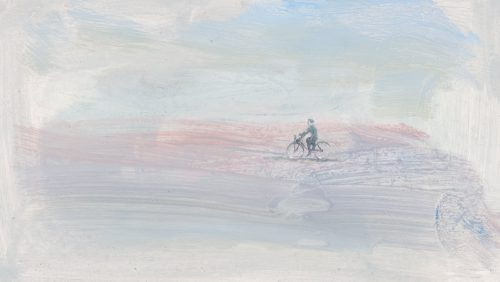 Cyclist No2. Oil on Board.16 x 11 inches.