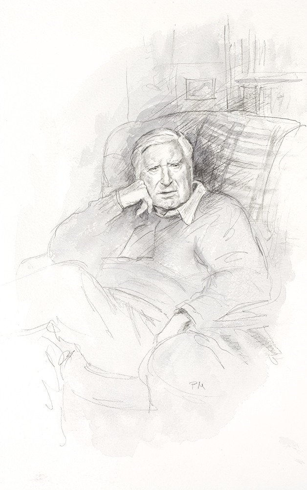 Portrait of Jack King. For many years bursar of Wolfson College Cambridge and family friend. Commissioned by the family.