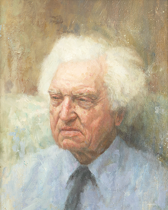 A M Mennim. My father. Collection of Wolfson College, Cambridge, which he designed. Oil 14x22 inches