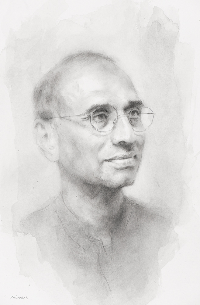"""Venki"" Ramakrishnan. 2009 he shared the Nobel Prize in Chemistry for studies of the structure and function of the ribosome. President of the Royal Society, Fellow of Trinity College. Pencil drawing. Collection of the College."