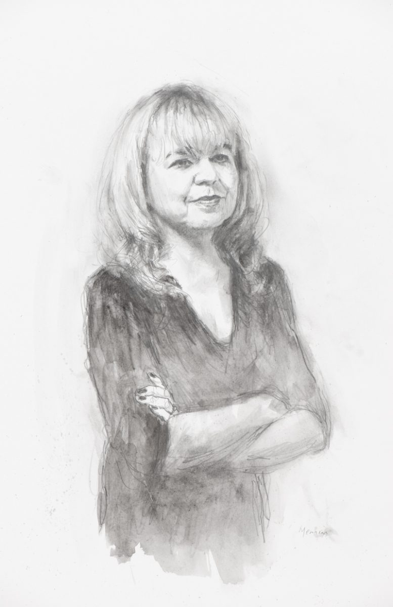 Professor Emma Wilson. Professor of French Literature and Visual Arts and head of the French department at Cambridge Univesity. Fellow of Corpus Christie College, Cambridge. Pencil drawing. Collection of the College.