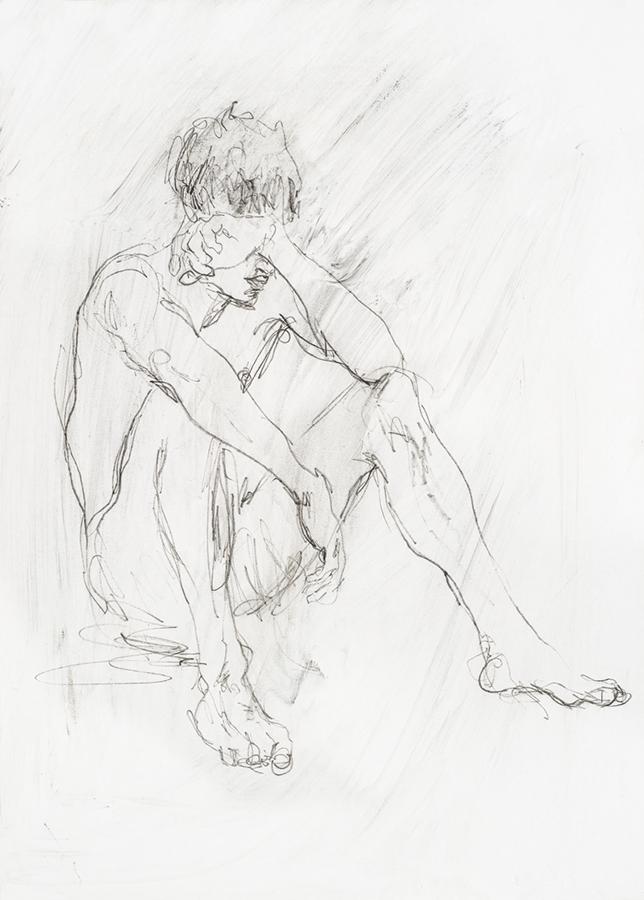 Youth sitting on beach. Pencil