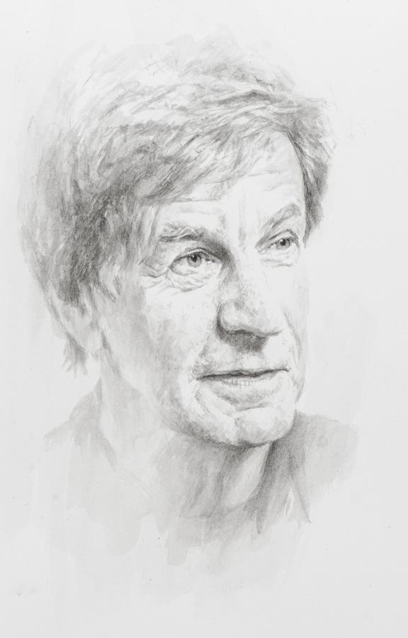 Professor Andrew Harvey. Professor of Ecometrics, Cambridge Univesity. Fellow of Corpus Christie College. Pencil Drawing, collection of the College.