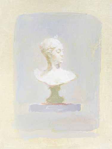 Looking. no5. Bust. Oil on linen stretched on board. 8 x 13 inches.