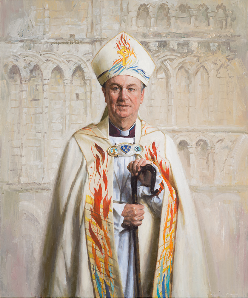 Bishop of Lynn, the Rt Revd Jonathan Meyrick. Commissioned and in the collection of The Keatley Trust. Oil
