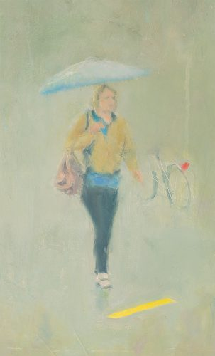 Rain 2. Oil on board. 12x22 inches.