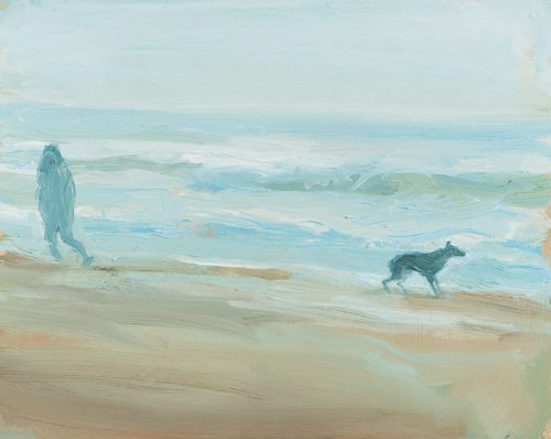 Walking the dog on windy beach. Oil.