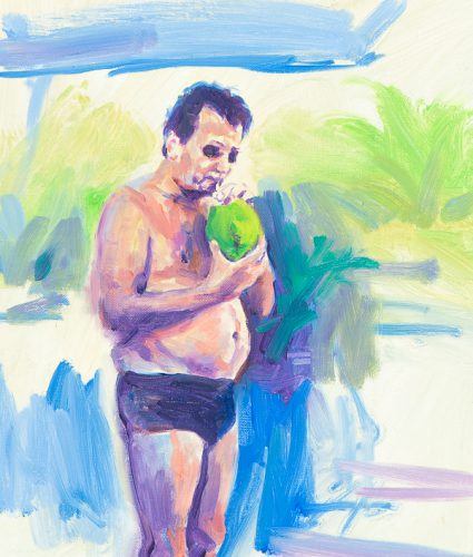 Coconut man. Oil on canvas. 11 x 16 inches.
