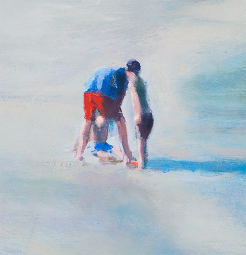 Cornwall beach scene no10. Father and 2 kids. Oil on canvas. 8 x 8 inches