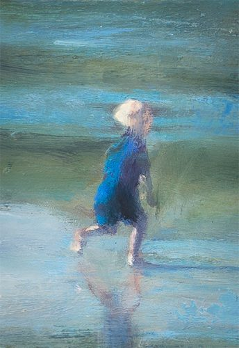 Cornwall beach scene no9. Child running on beach. Oil on board. 5 x 8 inches