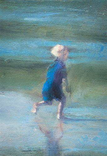 Cornwall beach scene no9. Child running on beach. Oil on board. 5 x 8 inches
