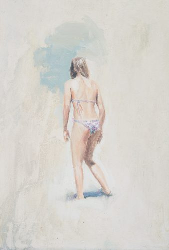 Cornwall beach scene no8. Girl facing away. Oil on board. 12 x 22 inches