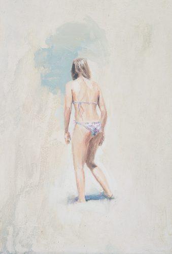 Cornwall beach scene no8. Girl facing away. Oil on board. 12 x 22 inches