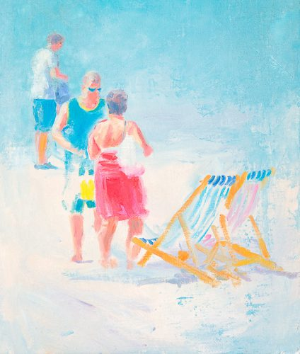 Cornwall beach scene no4. Oil on board. 10 x 18 inches.
