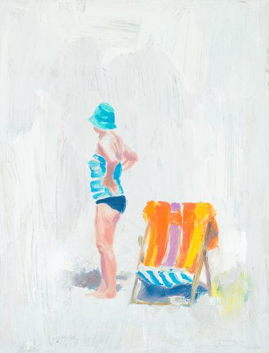 Cornwall beach scene no2. Woman with deckchair. Oil on board. 10 x 18 inches.