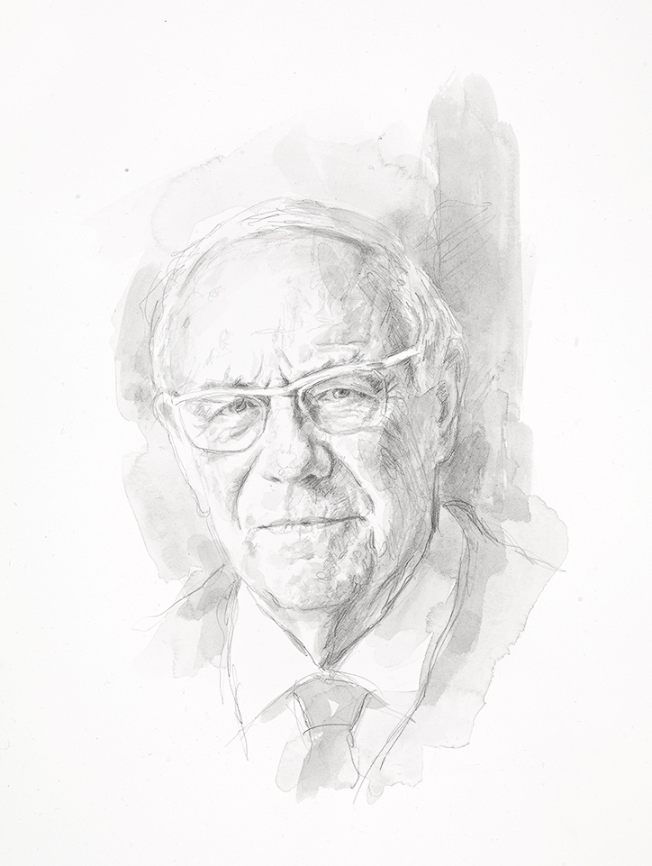 Dr Ronald Hyam. Emeritus Fellow, Emeritus University Lecturer in British Imperial History, formerly President and College Librarian. Pencil Drawing. Collection of the College.