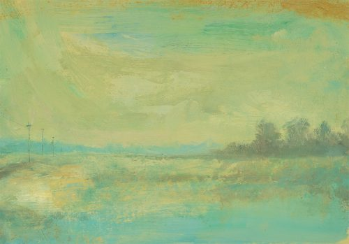 Fen landscape with telegraph poles. Oil on linen strtched on board. 12 x 20 inches.