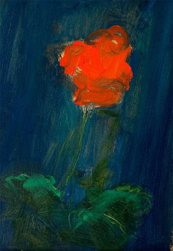 Red flower. Oil on board. 8 x 16 inches.