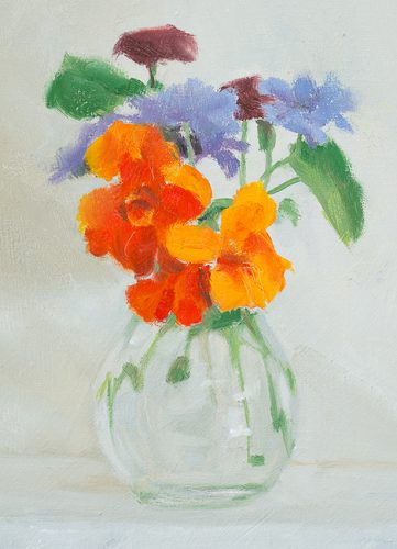 Flowers in glass vase no2. Oil on canvas. 8 x 14 inches.