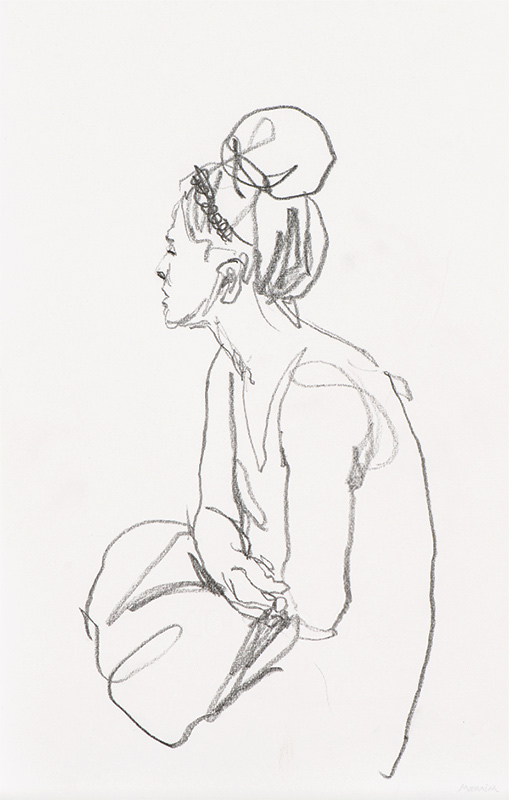 Bus stop. Sitting girl with bag. Pencil