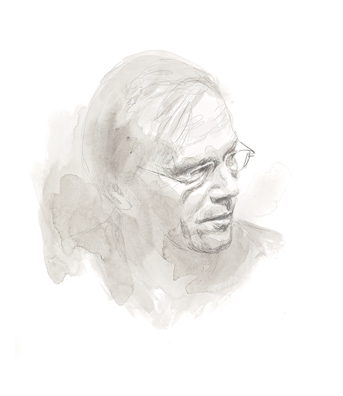 John Wheeler. Writer on Non-Duality. Commissioned and used on book jacket. Pencil.