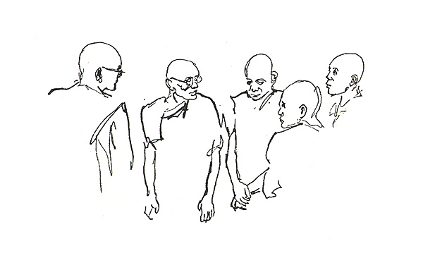 Mahasi Monks 6. Pen and Ink