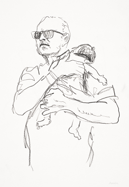 Father & child. Pencil drawing