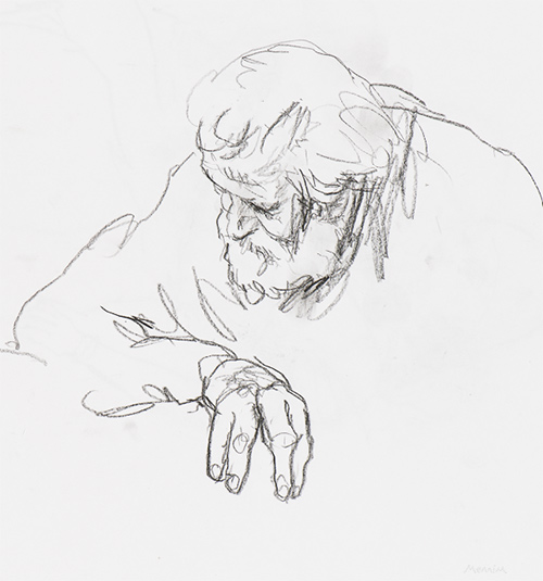bearded man listening. Pencil drawing.
