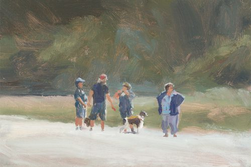 Dog walking on Mendocino beach. Oil on canvas. 8 x 14 inches.