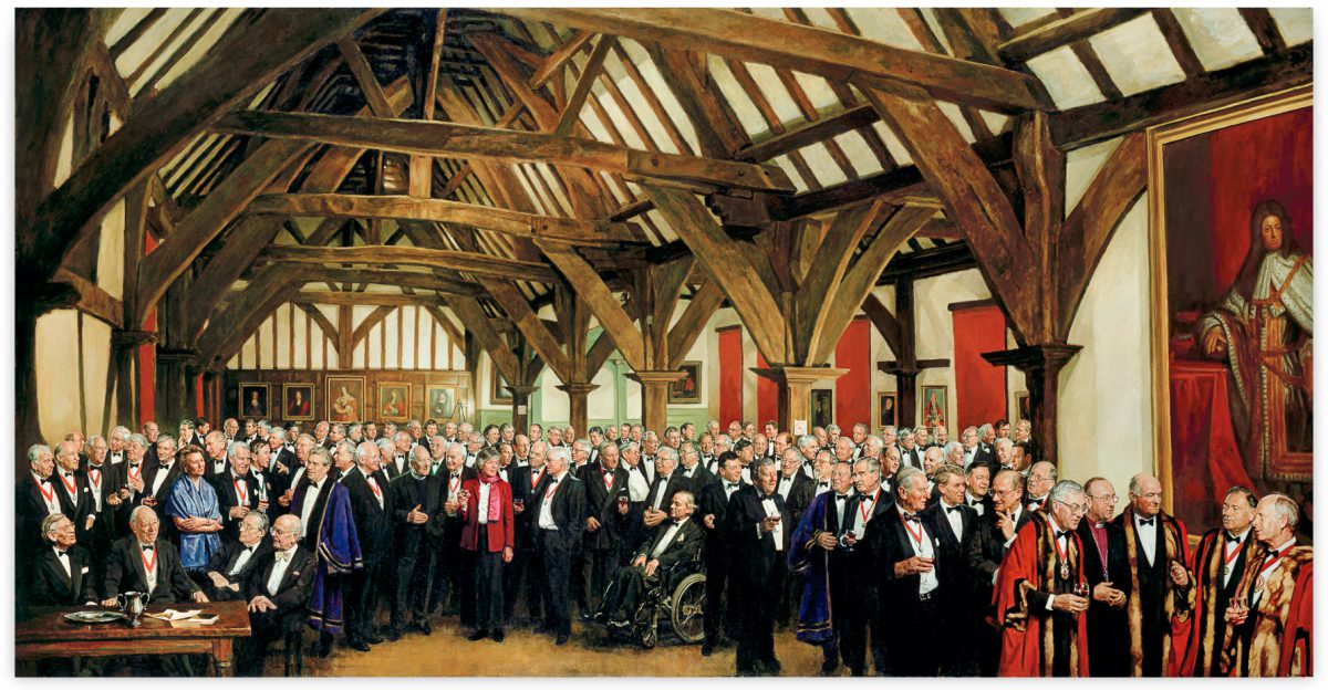 Millenium portrait of the Guild of Merchant Adventurers, City of York. Oil painting 8ft x 4.5ft. Collection of the Guild.