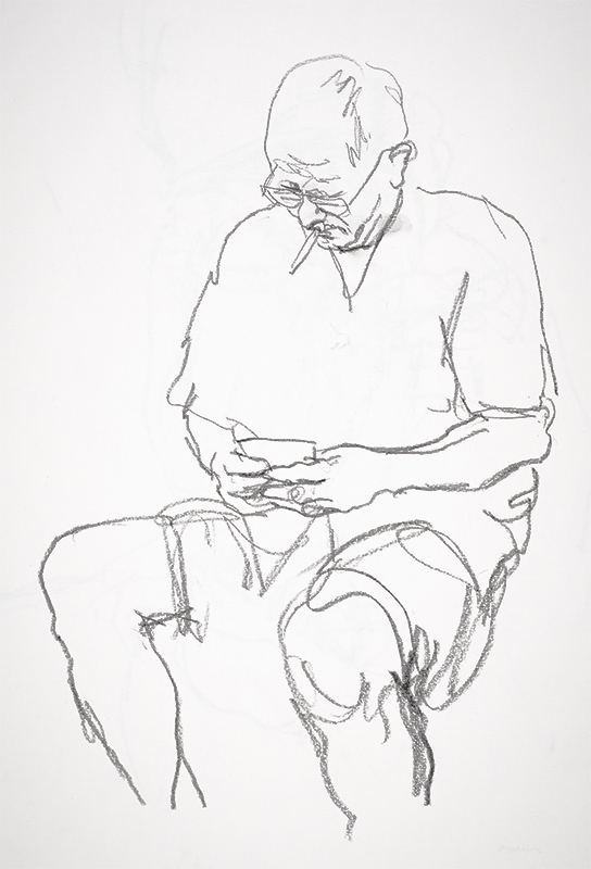 Mobile - sitting. Pencil drawing.