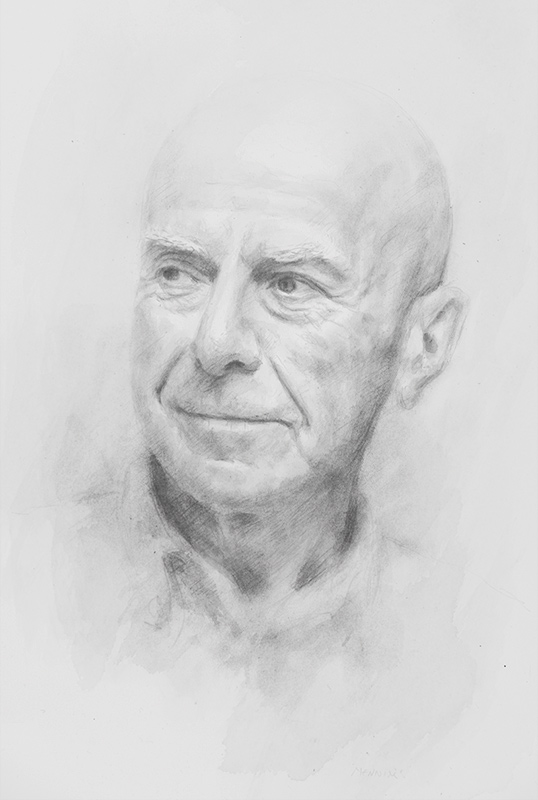 Professor Nigel Simmonds. Professor of Jurisprudence. Dean of Corpus Christie College, Cambridge University. Pencil Drawing. Collection of the College