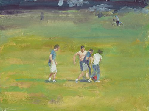 Football on Parkerspiece. Oil on linen. 16x12 inches