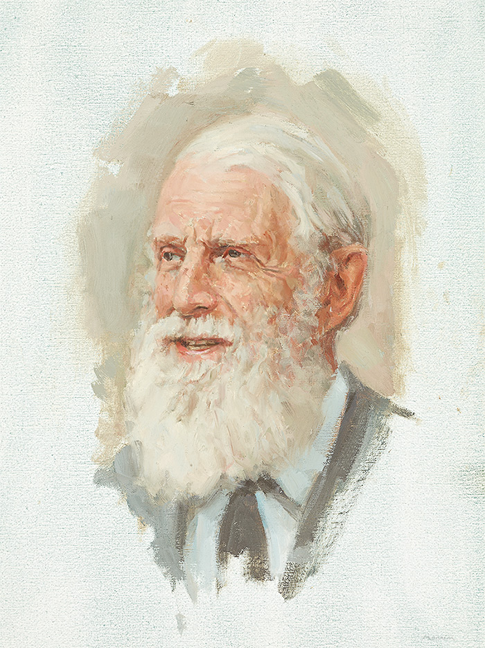 Professor Peter Grub, British ecologist and emeritus professor of botany at Cambridge University. Commission by Magdelene College. Oil 18x12 inches. Collection of the college.