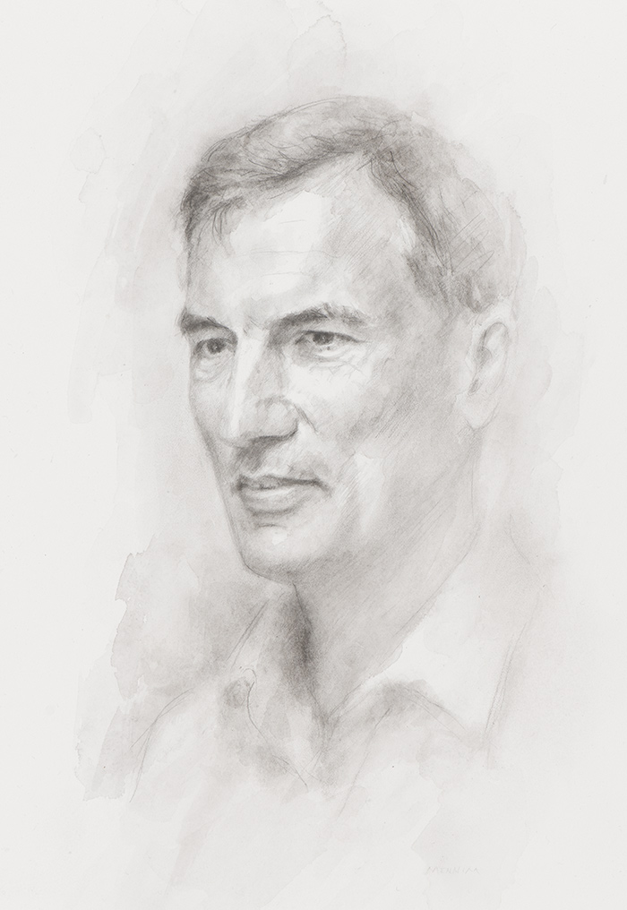 Prof. M. Grae Worster. Mathematician. Professor of Fluid Dynamics. Fellow of Trinity College, Cambridge. Pencil drawing. Collection of the college.