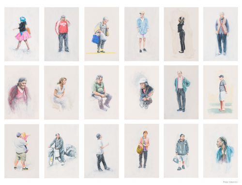 People seen over 2 days in San Fran. Oil on Board. Each 16x26cm.