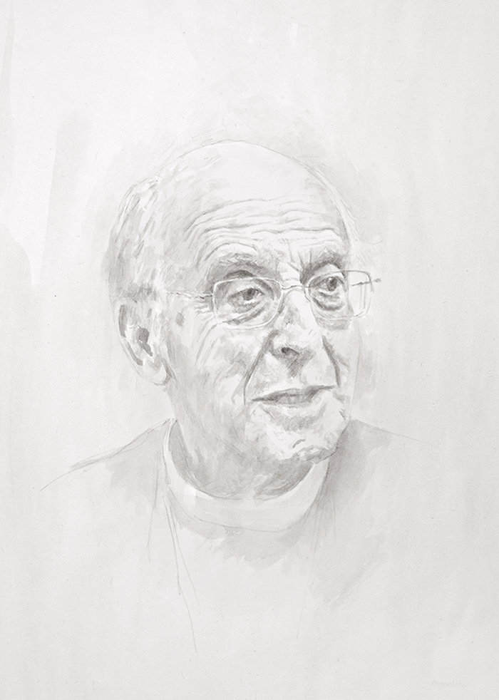 The Rt Revd Bishop Simon Barrington-Ward KCMG. Bishop with pastoral care of the University of Cambridge. Knight Commander of the Most Distinguished Order of St Michael and St George. Pencil drawing commissioned by Magdalene College, Cambridge.