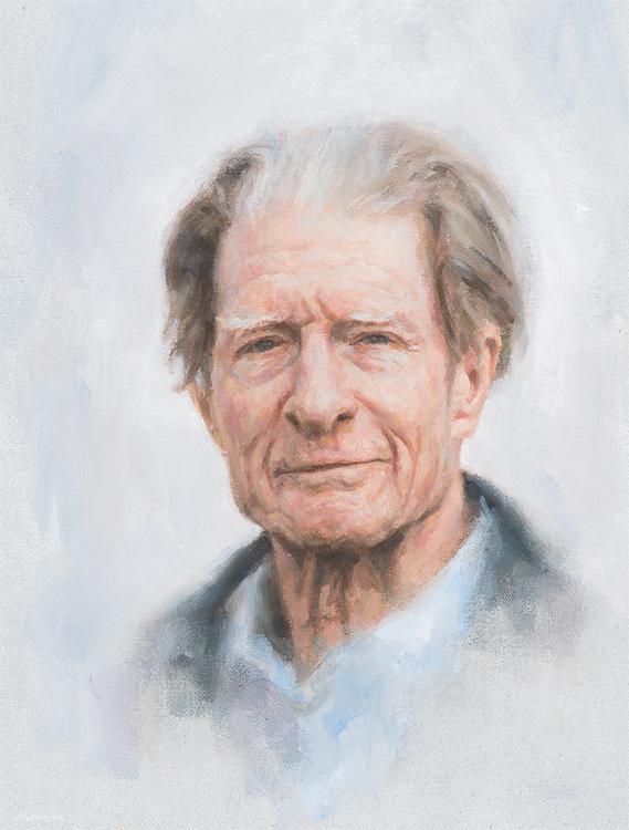 Sir John Bertrand Gurdon. Developmental biologist. Nobel Prize for Physiology or Medicine 2012. Master of Magdalene College, Cambridge, from 1995 to 2002. Oil 30 x 35cm.
