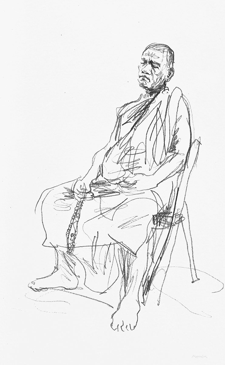 Sleepy Monk. Drawn during a stay at Mahasi Monastery, Yangon. Pencil.