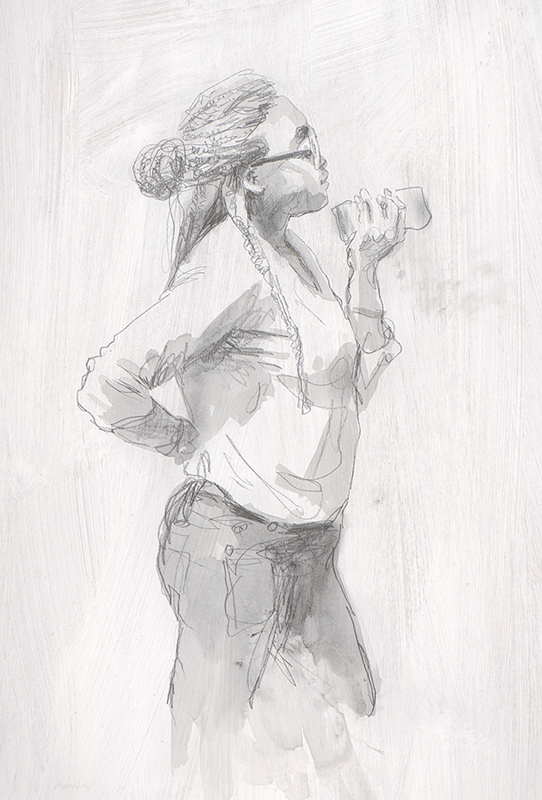 With mobile. Pencil and wash drawing.