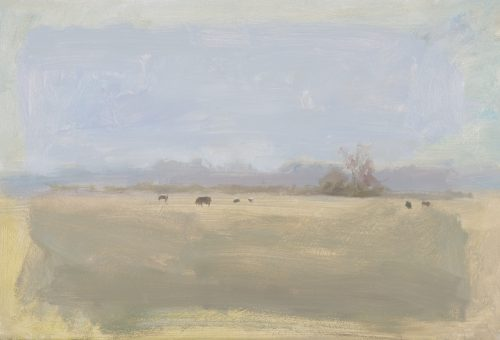 Cows on Upware Fen. Oil on board. 12 x 20 inches.