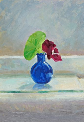 Flowers in small blue glass... Oil. 12x7 inches