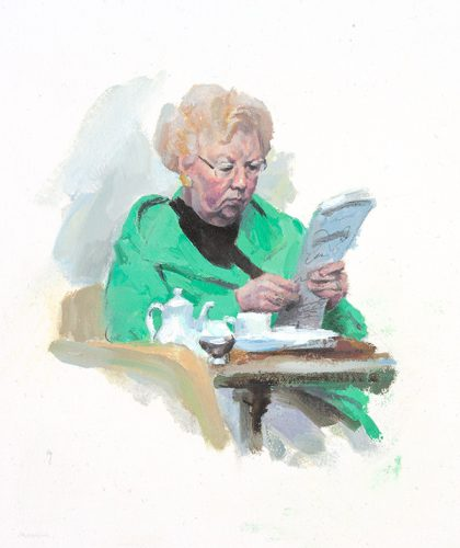 Tea in green. Oil on canvas. 7 x 14 inches.