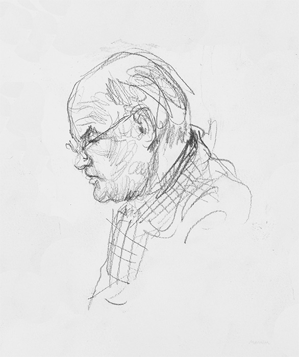 Sketch of head. Pencil.