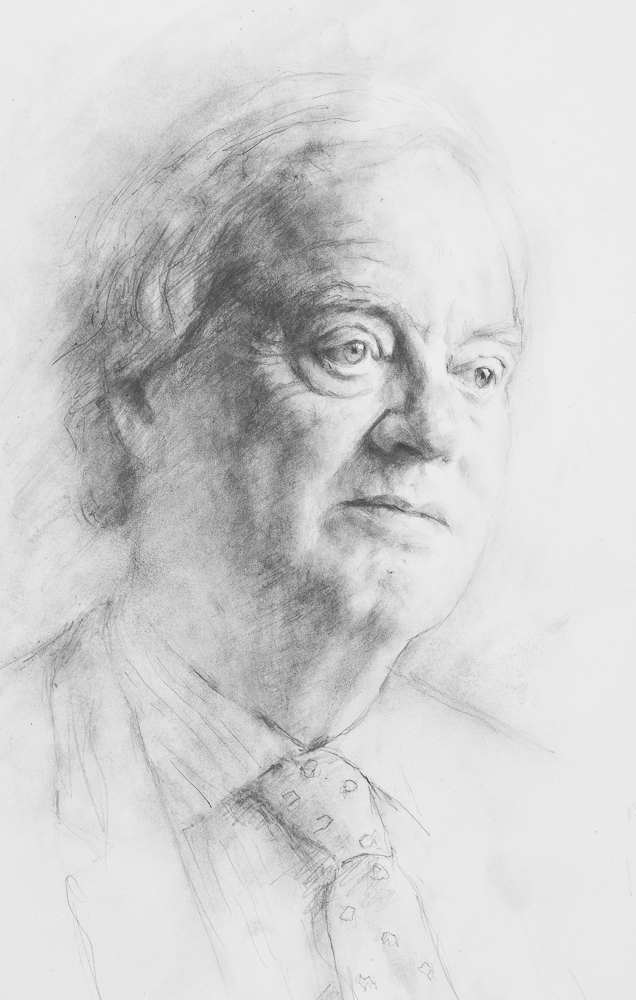 Christopher de Hamel. Drawing commissioned by Corpus Christie College, Cambridge University.