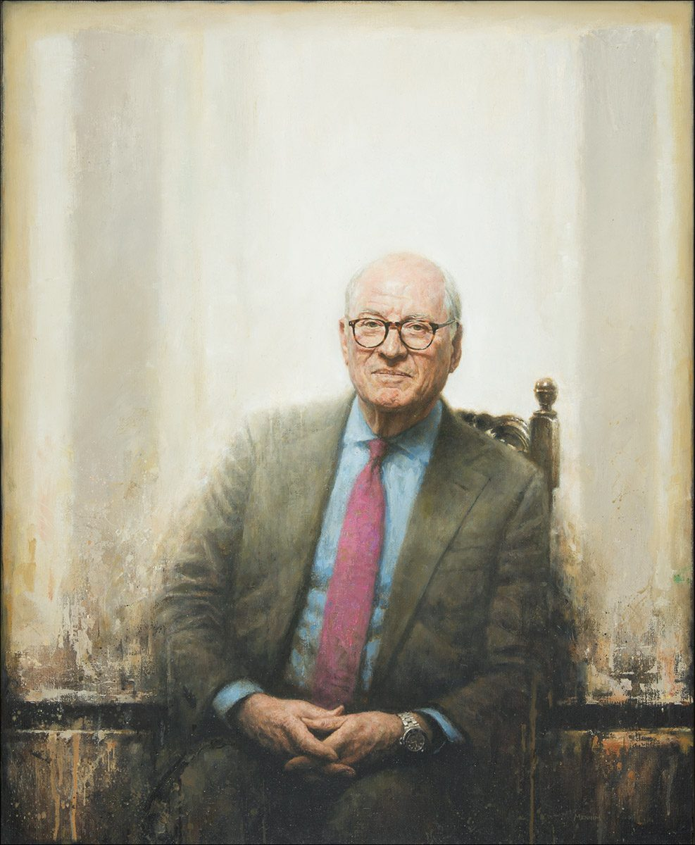 Lord Grabiner, Master of Clare College, Cambridge. Commissioned by the college. 90 x 110 cm. Oil.